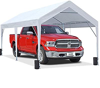 KING BIRD 10 x 20 ft Upgraded Heavy Duty Carport Car Canopy Portable Garage Tent Boat Shelter with Reinforced Triangular Beams and 4 Weight Bags