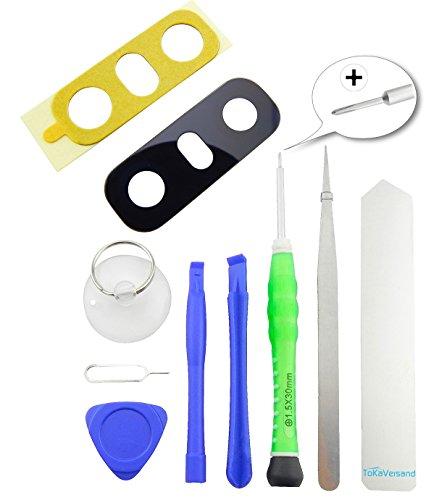 TOKA-VERSAND® - Glasabdeckung für LG G6 H870 H872 VS988 LS993 US997 Kamera Glas Abdeckung Premium [echt Glass] mit Kleber [Dichtung] sowie 8X teiliges Werkzeug [magnetisch] 10in1 Linse Schwarz