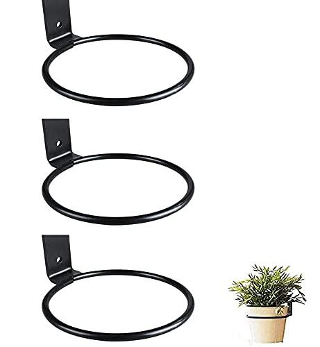 Un set di 3 ganci a muro per aiuole, ferro nero, supporto per vasi da fiori sospesi (dimensioni: 15,6 cm)