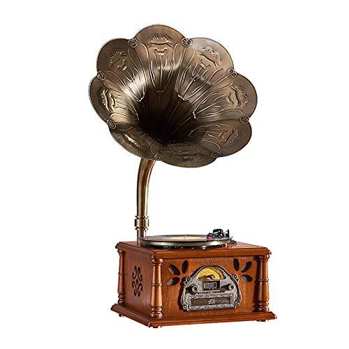 Yamyannie Tocadiscos de Vinilo Retro Gramófono Altavoz Antiguo Vinilo Registro Jugador Bluetooth USB Vintage Radio Adornos para Casa (Color : Marrón, Size : 43x35x88cm)