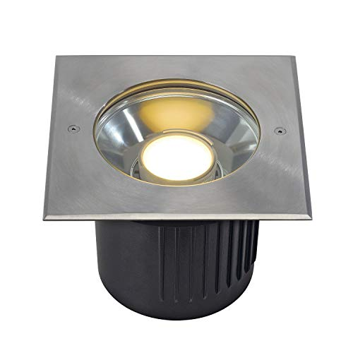 SLV 230164 DASAR Module Spot LED encastrable au sol, angulaire, en acier inoxydable pour Philips pivotante Modules LED, en acier, gris argenté,