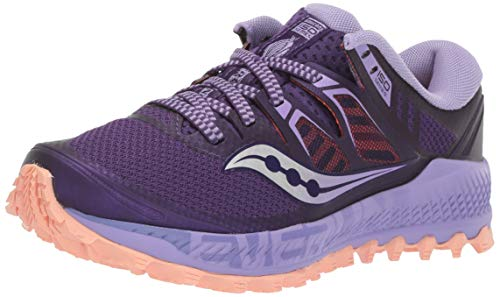 Saucony Women's Peregrine ISO Road Running Shoe, Purple/Peach, 7 M US