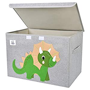 CLCROBD Foldable Large Kids Toy Chest with Flip-Top Lid, Collapsible Fabric Animal Toy Storage Organizer/Bin/Box/Basket/Trunk for Toddler, Children and Baby Nursery (Triceratops)