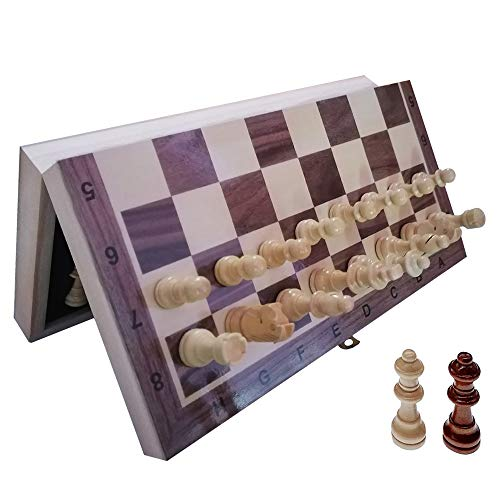 """YJZ Chess Set 12"""" Folding Wooden Set with Magnetic Chess, Perfect Choice for Children and Adult Travel Chess Sets, Set with Storage Slot Includes 2 Extra Queens, Birthday for Rewards Beginners"""