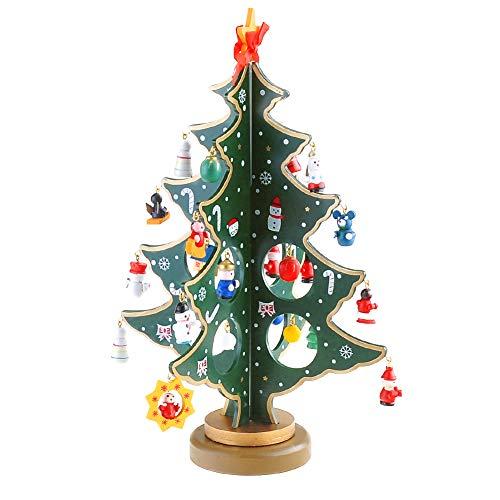 ionlyou Kleiner Weihnachtsbaum Kunst aus Holz Weihnachten Tisch Deko grün inkl. Anhänger Kugel Angel christbaumspitze Jesuskind Schneeman u.s.w