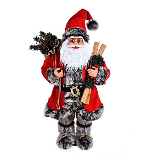 Yooyoo 12 Inch Santa Claus Figurines, Standing Santa Claus Doll, Figure for Christmas Ornament, Santa Collection, Santa Claus Statue with Glasses Gift Bag, for Xmas Decor(Red)