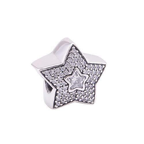 LILIANG DIY Clear Star Design Charm Beads para Plata 925 Pulseras Mujeres Joyería Pave Stone Sky Charm Beads para Hacer Joyería Fina