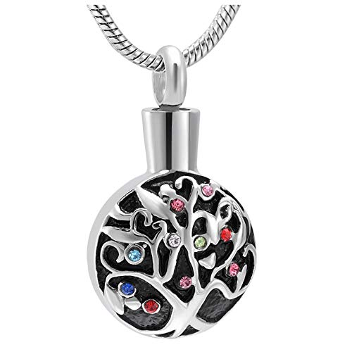 Wxcvz Cremation Urn Necklace Stainless Steel Cremation Jewelry Tree Of Life Memorial Keepsake Urn Pendant Ashes Necklace For Women/Men
