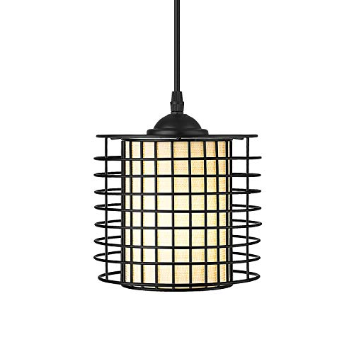 Osimir Industrial Pendant Light, Mini Cage Kitchen Hanging Light Fixture for Dinning Room, Matte Black Finish, Fabric Lampshade, CH9178-1