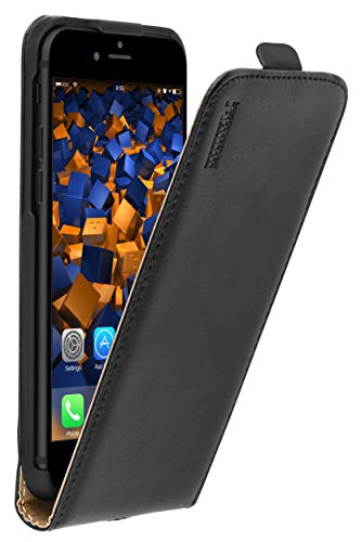mumbi Echt Leder Flip Hülle kompatibel mit iPhone SE 2 2020 / 7 / 8 Hülle Leder Tasche Hülle Wallet, schwarz - 4.7 Zoll