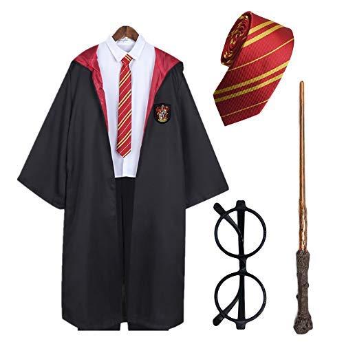 Disfraz de Mago Harry Potter Capa + Gafas de Mago Redondos + Varita mágica de plástico + Corbata de Gryffindor , Hufflepuff , Ravenclaw , Slytherin (Rojo, 5-6 Años)