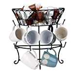Mind Reader Countertop Mug Rack, Cup Tree with Pegs, Upper Basket for Single Serve Coffee Pod Storage, Metal Wire, Top, Black