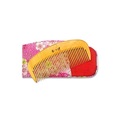 上質 本つげ 3寸 とかし櫛 ケース(色・柄おまかせ)付 椿油仕上 静電気防止 国産 日本製 コーム つげの櫛 つげ櫛 上質仕上げ(3寸)