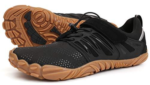 WHITIN Men's Trail Running Shoes Minimalist Barefoot 5 Five Fingers Wide Width Toe Box Gym Workout Fitness Low Zero Drop Male Walking Trainer Cross Training Black Gum Size 8