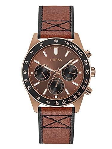 GUESS Reloj de cuarzo de acero inoxidable para hombre con correa de cuero, marrón, 22 (Modelo: GW0331G1)