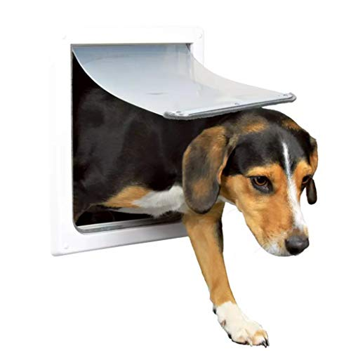 TRIXIE Pet Products 2-Fach verriegelbare Hundetür, für kleine bis mittelgroße Hunde, Weiß
