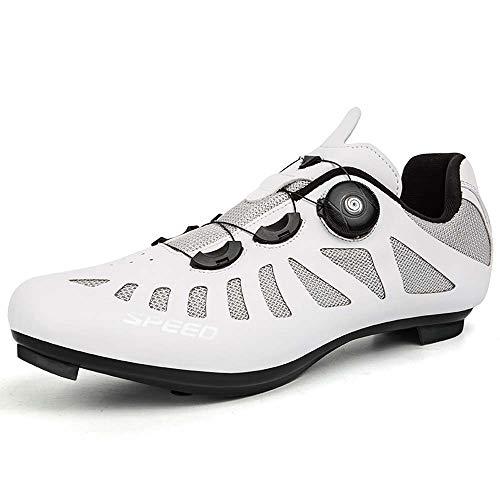 Calzado De Bicicleta De Montaña para Hombre Y Calzado para Bicicleta De Interior Resistente Al Desgaste (39,Blanco)