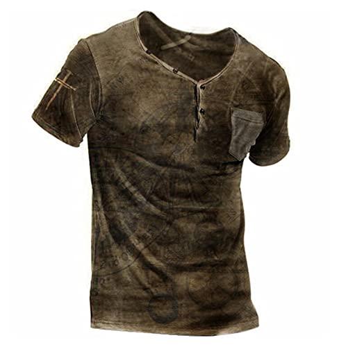 Camiseta de Manga Corta Estampada Retro para Hombre Camiseta de Ruta de Ocio Camiseta de Ruta 66 Camiseta de botón Deportivo