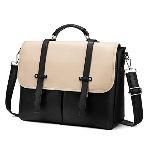 Laptop Bag for Women, 15.6 inch Briefcase for Women, Multi-Pocket Laptop Tote Work Bags with Professional Padded Compartments, Black-Beige