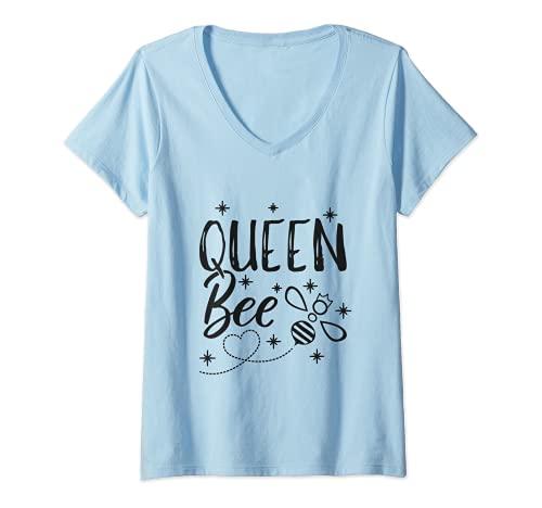 Damen Lustiges Imker Geschenk Queen Bee Crown Bee Bienen T-Shirt mit V-Ausschnitt