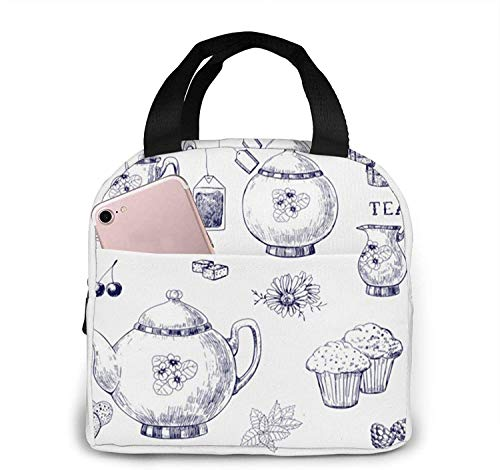 Lunch Bag Canvas Fabric Reusable Insulated Hand Drawn Teapots and Cups Lunch Box for Work School Travel and Picnic