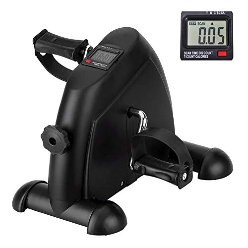 AGM Mini bicicleta de apartamento con monitor digital y pedal antideslizante, ligera, fácil de usar, almacenamiento y resistencia ajustable, dispositivo para trabajar piernas y brazos (Negro1)