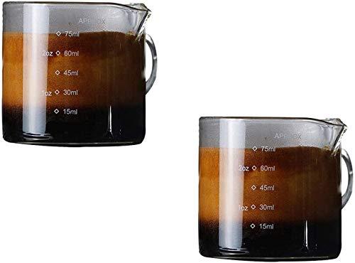 Milk Shot Pitcher Glasses Espresso Double Spouts Cup, 75ml Measuring Barista Espresso Coffee Borosilicate Microwave Safe Kitchen Accessories 2 Measurement Scales ML OZ Easy Liquid Powder Cups-2 Pack