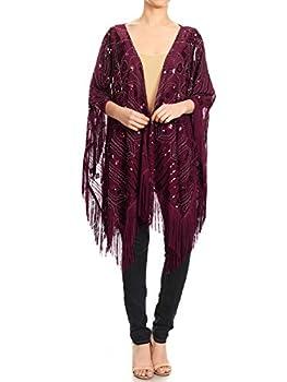 Anna-Kaci Womens Oversize Hand Beaded Fringed Sequin Evening Shawl Wrap Burgundy Onesize