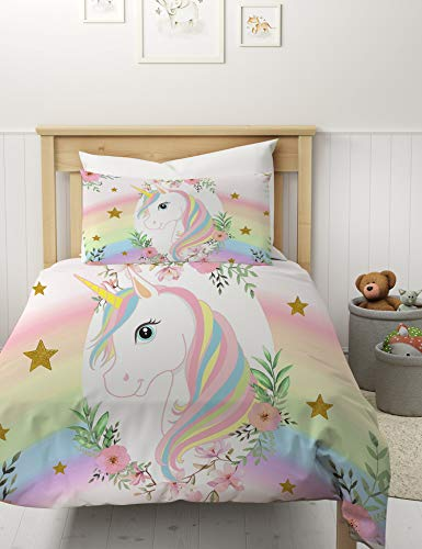 MUSOLEI Unicorn Star Duvet Cover Sets Single Rainbow Kids Bed Bedding and Pillowcase Pink Flower Quilt Bed Cover Watercolor Zipper Soft Multi-Colour Gift(Single)