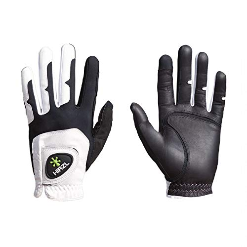 HIRZL GRIPPP FIT Golf Gloves, All Weather Mens Golf Glove (White Black), Kangaroo Leather & Lycra, Ultimate Grip, Breathable, Stretch Fit, Sweat Absorbent, Men s,Large X-Large, Worn on Left Hand