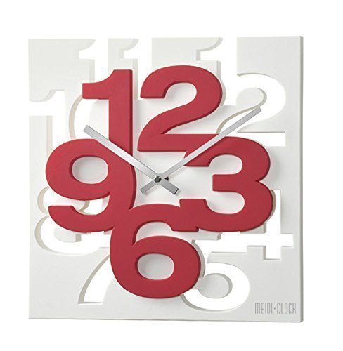 GMMH 3 D Design Moderne 1106 Cuisine Horloge Murale radiocontrolée en Faire pilotée Blanc/Rouge