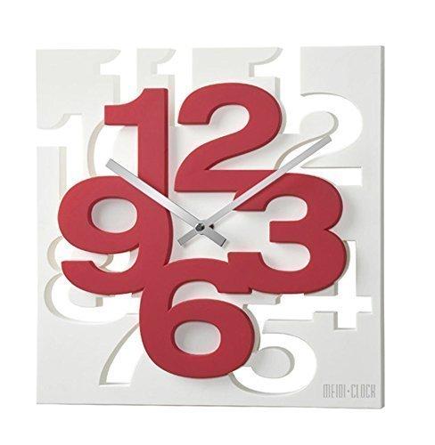 GMMH 3D- Orologio da parte dal design moderno, decorativo, silenzioso, ideale per cucina, bagno e ufficio, 1106, bianco/rosso