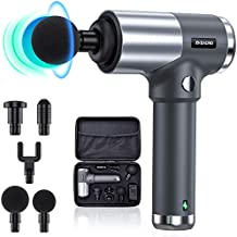 Quiet Glide Technology Massage Gun,ENEACRO Handheld Deep Tissue Percussion Massager Device for Athletes,4 Speeds and 6 Heads,Pure Wave Fascial Gun with Case(Gray)
