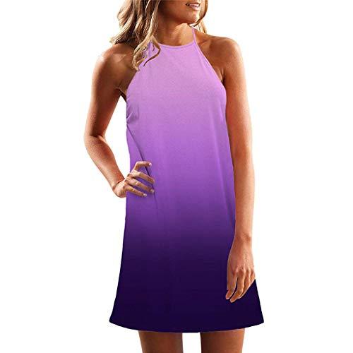 Shinehua zomerjurk voor dames, casual, halsketting, mouwloos, strand, swing jurk, vrijetijdsjurk, strandjurk, bohemian mini-jurk, elegante knielang, feestelijke jurk halter Large lila