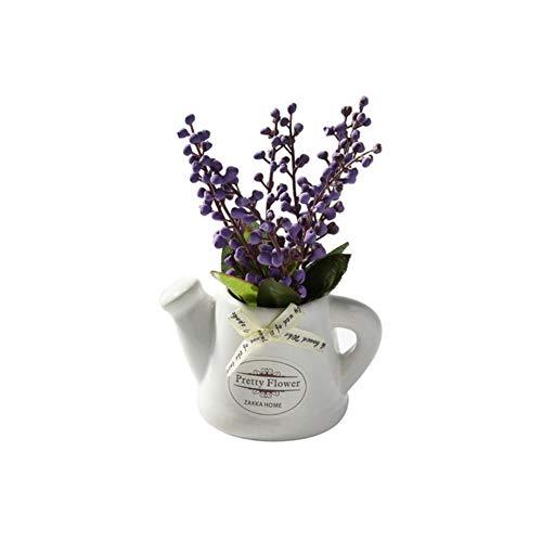 XCVB Ingemaakte kunstbloem 1 set (planten + vaas) Zijde Orchidee tak Bonsai Kunstbloemen IngegotenDecoratieve plant Bruiloftsdecoratie met Keramiek Vaas, paars