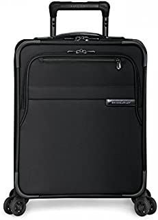 Briggs & Riley Baseline 19 inch Under Seat Carry-On Luggage with Wheels. Expandable Rolling Travel Luggage Bag with Compression Packing System, Black