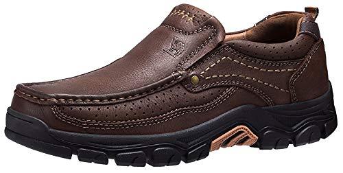 CAMEL CROWN Slipper Herren Mokassins Leder Weich Slip On Loafer mit Gummisohle Schuhe für Herren Schwarz Braun 41-47, Braun, 45 EU