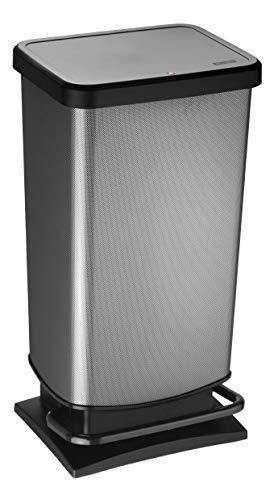Rotho Paso Mülleimer 40 l mit geruchdichtem Deckel, Kunststoff (PP), carbon metallic, 40 Liter (35,3 x 29,5 x 67,6 cm)