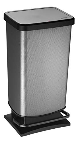 Rotho Paso Mülleimer 40l mit Pedal und Deckel, Kunststoff (PP) BPA-frei, carbon metallic, 40l (35,3 x 29,5 x 67,6 cm)