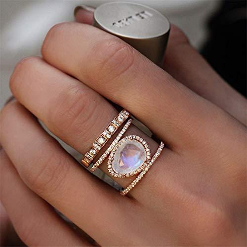 Yesiidor Ovale Form Mondstein Kristall Ring Frauen Mädchen Mode Stilvolle Vintage Charming Diamant Band Ringe Engagement Ehering Schmuck Zubehör