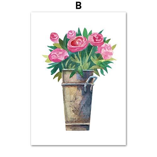 Geen frame Plum tulp rose olieverfschilderij muurschilderingen canvas schilderij nordic poster en prints plant muur foto woonkamer decoratie 40x60 cm
