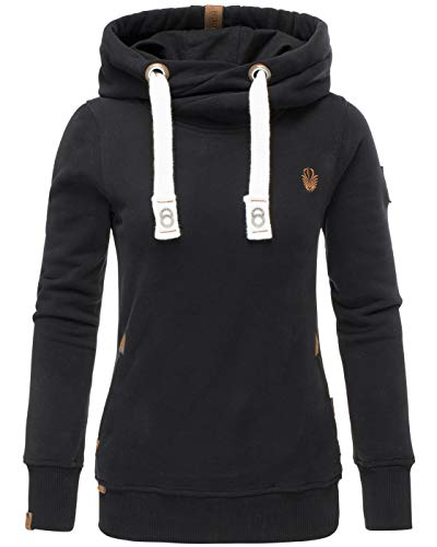 Navahoo Damen Sweatshirt Hoodie Pullover Pulli Sweater Kapuze warm B563 [B563-Schwarz-Gr.XL]