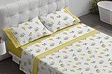 Burrito Blanco Juego de Sábanas 481 con un Diseño de Hojas y Bajera Lisa para Cama Individual de 120x190 hasta 120x200 cm/Juego de Cama 120, Color Mostaza