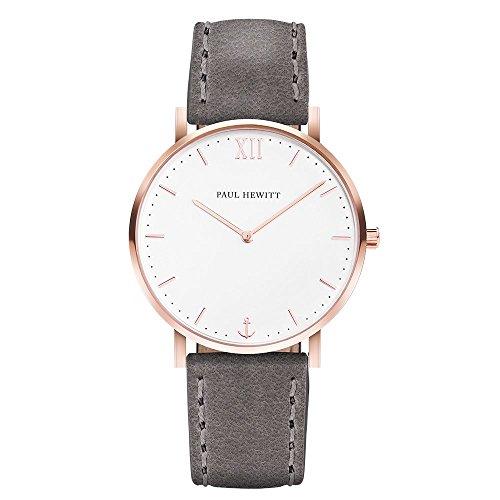 PAUL HEWITT Armbanduhr Damen Sailor Line White Sand - Damen Uhr (Rosegold), Damenuhr mit Lederarmband in Grau, weißes Ziffernblatt