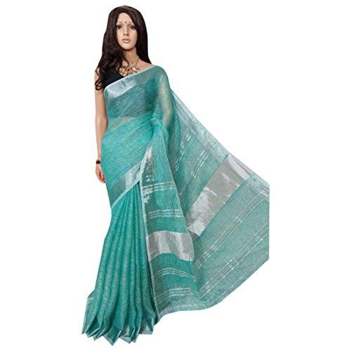 ETHNIC EMPORIUM dames mintgroen linnen katoenen handwerk saree formele bruiloft Inder mooie Zari grens traditionele sari met blouse stuk handgemaakte Bengal Weavers 118 43481 Zoals ge
