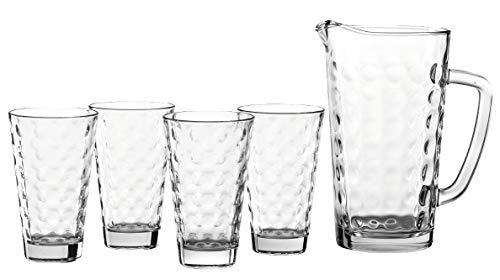 Leonardo Krug mit Gläsern Optic, 4-er Gläser-Set inkl. Glas-Krug, Trink-Gläser und Karaffe mit Innenrelief, 5-teilig, 028774