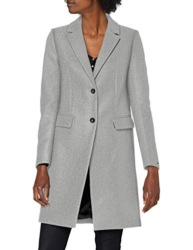 Tommy Hilfiger Damen Th Ess Wool Blend Classic Coat Jacke, Mid Grey Heather, 44