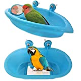 SLUDFH 2 PCS Vasca da Bagno Uccelli con Specchio Ciotola Bacino Appeso Vasca Vasca da Bagno Pappagallo in plastica Resistente Adorabile Vasca da Bagno Uccello Doccia Strumento di Pulizia (Blu)
