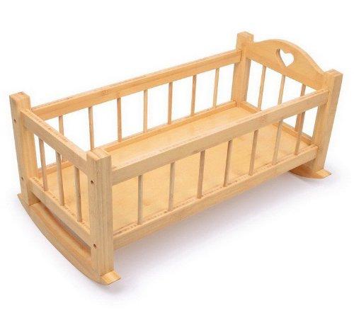 15 Designs Dolls Wooden Set High Chair Rocking Crib Cot Bed Pram Pushchair Girls Toy (Cradle Nature)