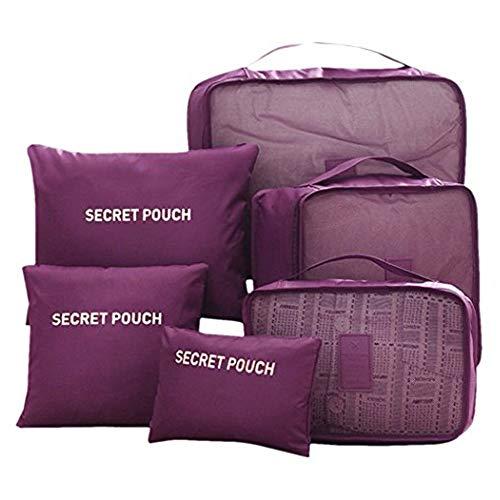 Beloved Set di 6 Organizer da viaggio per valigia - beauty case - salvaspazio - lavanderia - bagaglio a mano e trolley (Viola)